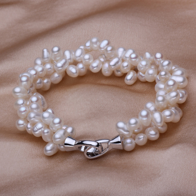 Natural Freshwater Pearl Bracelet Multi Layer women gift bracelet