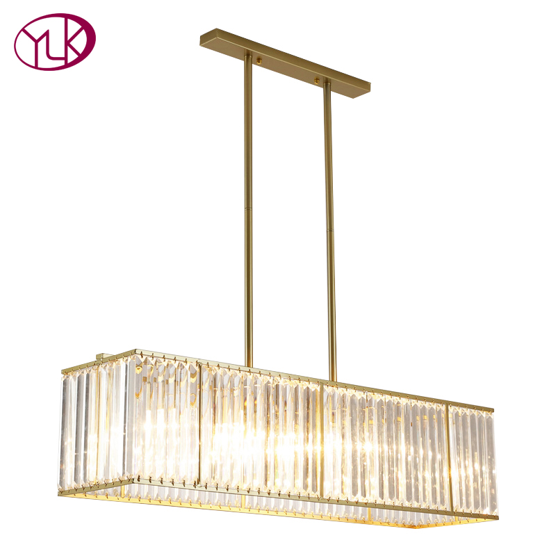 Youlaike Luxury Modern Crystal Chandelier Dining Room Hanging Gold LED Crystal Light Rec ...