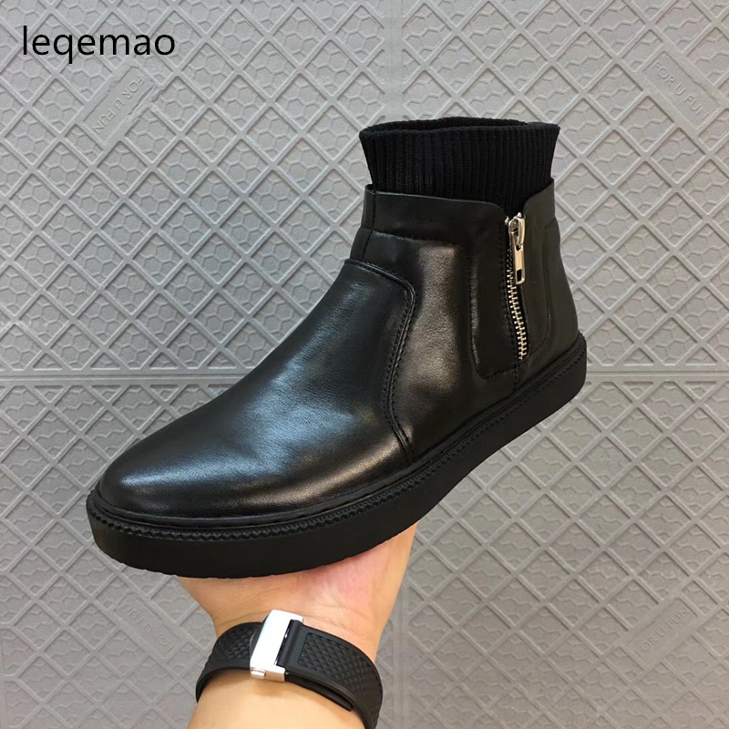 New Fashion Men Basic Zipper Black Winter Warm Plush High-Top Cowhide Genuine Leather Luxury Brand Snow Boots Flats Shoes 38-44 autumn warm plush winter shoes men zipper 100% genuine leather boots men thick bottom waterproof black high top ankle men boots