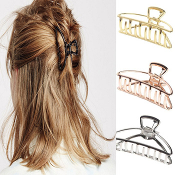 2019 Women Girls Geometric Hair Claw Clamps Hair Crab Moon Shape Hair Clip Claws Solid Color Accessories Hairpin Large/Mini Size
