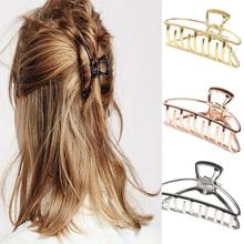 2020 kobiet dziewczyn geometryczne klamra do włosów zaciski do włosów krab księżyc kształt klips do włosów pazury jednolity kolor akcesoria spinka do włosów duży Mini rozmiar tanie tanio S--approx 40*28mm L--approx 75*28mm Metal Klip do włosów S--approx 40*15mm L--approx 75*28mm Balck Rose gold Gold Silver