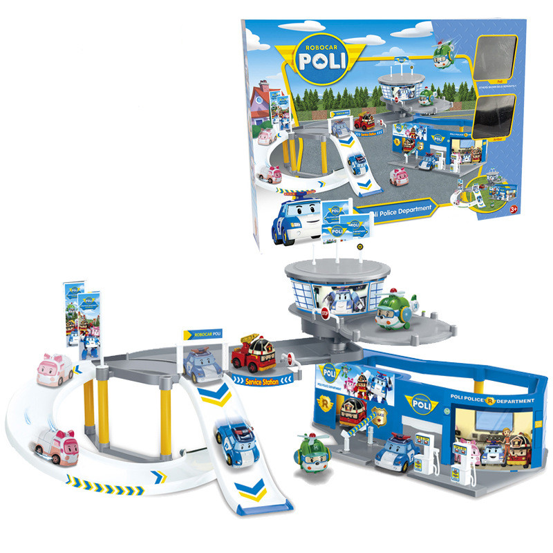 In Stock Hot sale The deformation of rail car police police Perley theme parking lot puzzle Childrens educational toys Kids Toy