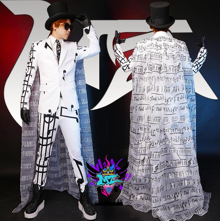 Runway Look Men Singers Personality White Notes Thickening Stretch Cotton Suit Costumes Stage Formal Dress VSTINUS S-5XL