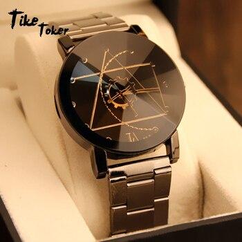 TIke Toke,2017 New Luxury Couple Watch Fashion Stainless Steel Watch For Man Quartz Analog Wrist Watch Orologio Uomo Hot Sales