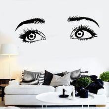 Vinyl Wall Decal Beautiful Girl Eyes Sight Eyelashes Stickers Brows Beauty Salon Decor Decals Window Poster L860
