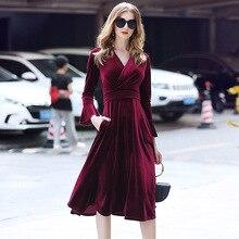 New elegant V-collar Bell Sleeve velvet medium-length dress for women