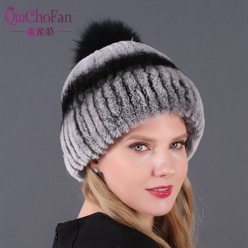 Hot Sale Winter Natural Rex Rabbit Fur Hat Women Elasitc Warm Handmade Knitted Real Caps Big Fox Ball Beanies Hats