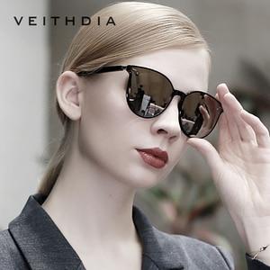 Image 1 - Veithdia ブランドヴィンテージデイナイトデュアルレディースサングラス偏光ミラーレンズ猫目フォトクロミックサングラス女性のための 8520