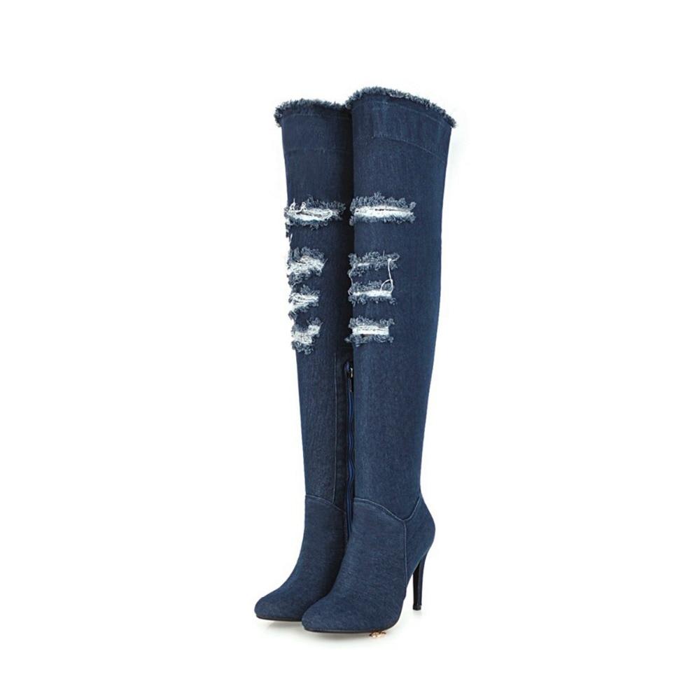 Sobre ef1590 De La Botas Denim Azul Zapatos Mujeres Punta Rodilla Ef1590 Sexy Clásica Luz Larga Oscuro Light Blue Intención Las Dark Original Mujer Blue wExYEtq1