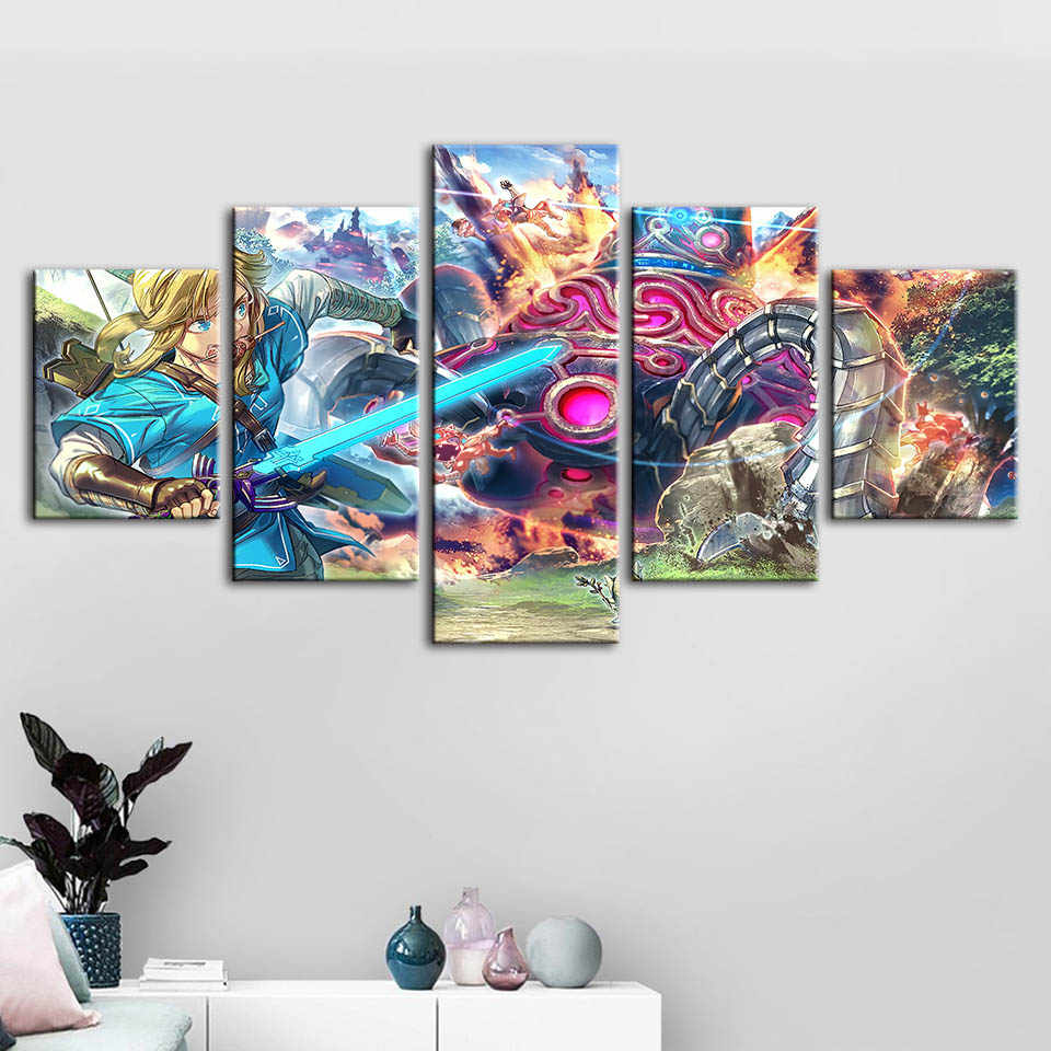 Modular Pictures Home Decoration Legend Of Zelda Wall Art Modern Game Character Canvas Prints Painting For Bedroom Poster Frame