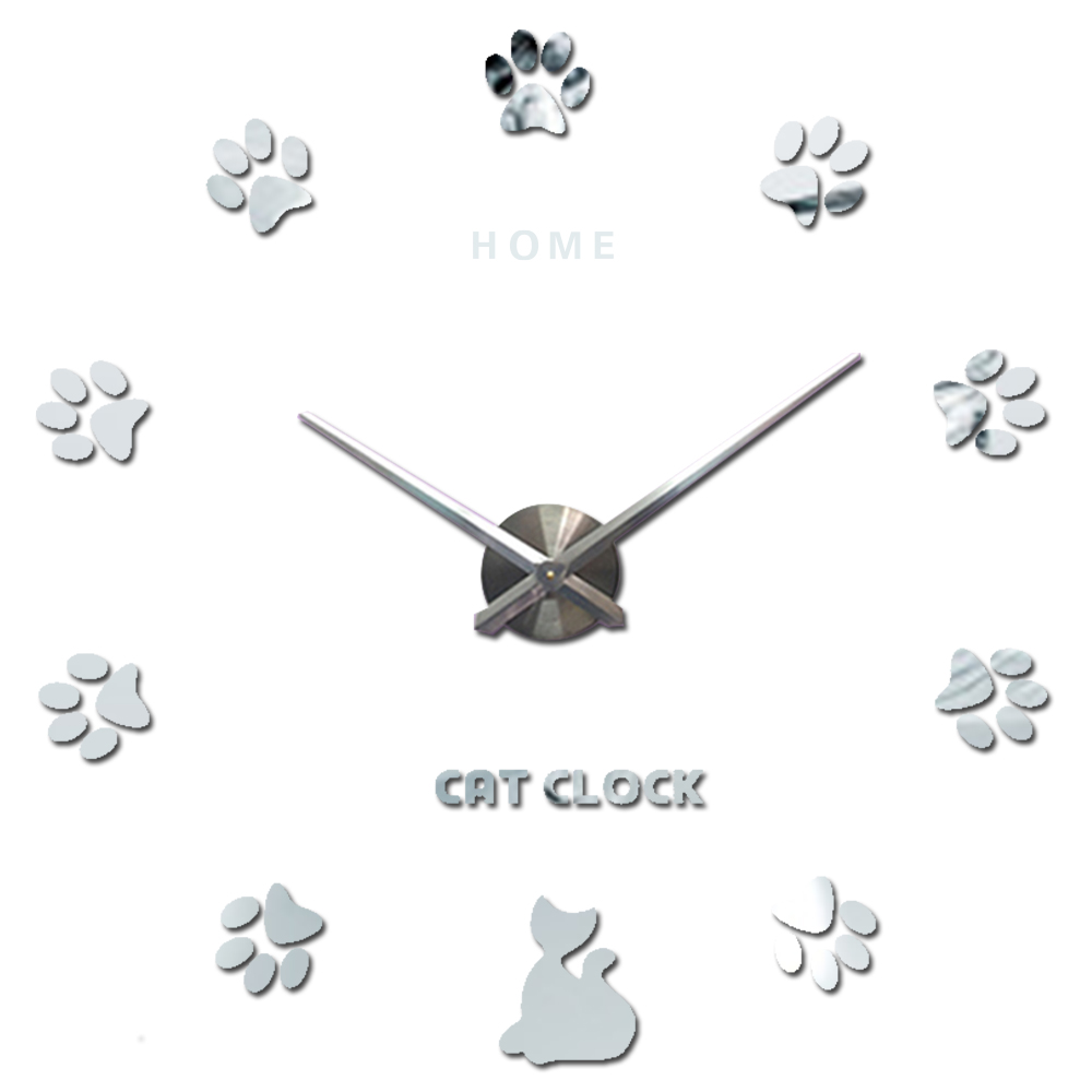 Home Letters Cat Claw 3D Wall Clock Quartz Metal Mirror Clocks Fashion Personality Diy Circular Living Room Wall Clock
