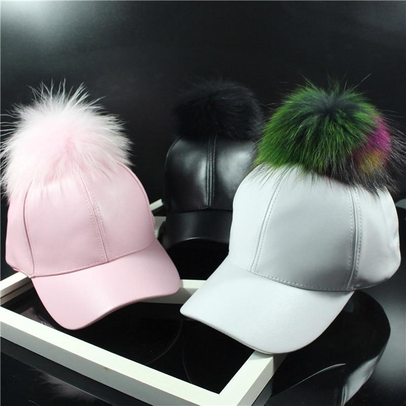 2016 Korean Autumn winter raccoon fur women Hip Hop   Baseball     Cap   Noble Hairball Leather snapback   Caps   For Men Girls