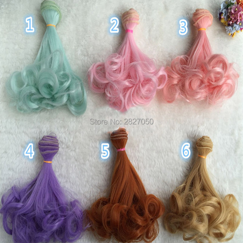 one piece 15*100cm Coffee Brown Rose Red Purple Natural Color Extension Hair Curly Wigs for BJD Doll 1/3 1/4 1/6 bjd doll hair wigs for 1 3 1 4 1 6 bjd wigs high temperature wire fashion curly hair piece for bjd sd dollfie 1pcs 25cm 100cm