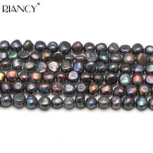 8-9mm Baroque Freshwater Black Pearl Loose Beads,DIY Real Pearl Beads Strand Necklace 37cm недорого