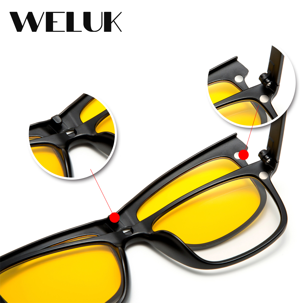 061bcbc03dc1 WELUK 5 Lens Magnet Sunglasses Clip Men Night Driving Magnetic Mirrored Clip  on Sun Glasses Men Flip Myopia Eyeglasses-in Sunglasses from Apparel ...