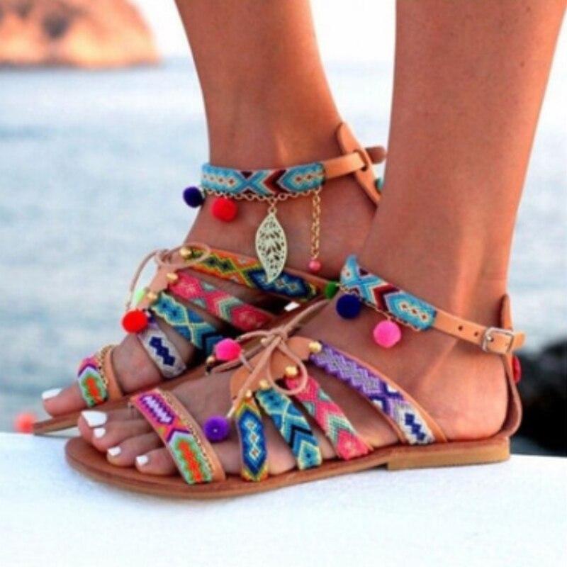 2018 Beach Summer Flat Women Sandals Plus Size Fashion Gladiator Sandals Shoes Ladies Boho Woman Comfortable Footwear ABT1001 2018 new summer women sandals shoes fashion comfortable girls sandals footwear flat sexy causal ladies solid women shoes est1009