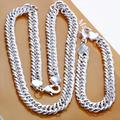 Free Shipping!wholesale Hot silver men's jewelry set the 10MM sideways necklace bracelet combination 1set/lot S208