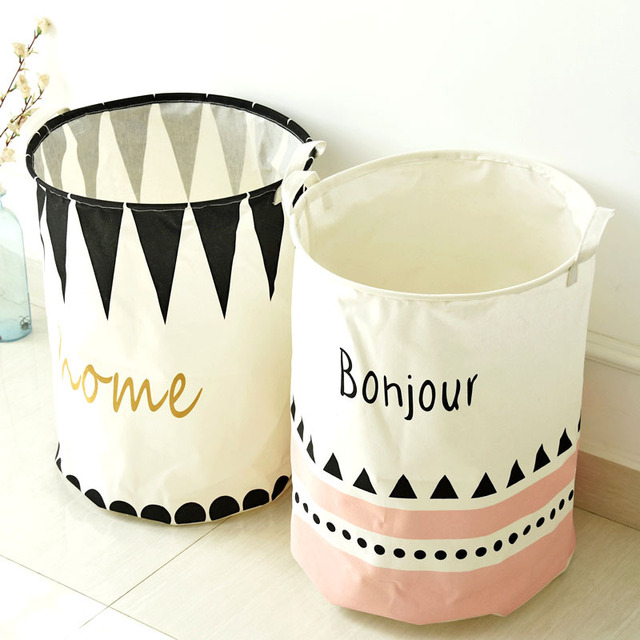 Cotton Linen Zakka Toy Storage Laundry Basket Large Capacity Cute Black  Pink Triangle With Handle Fold