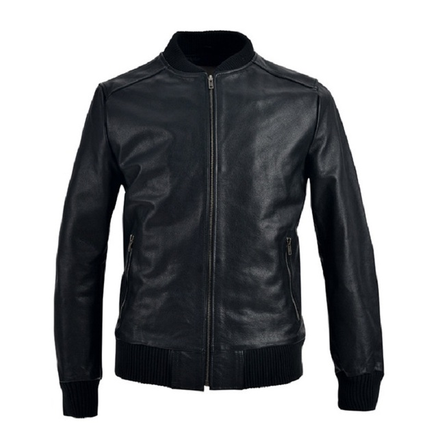 Genuine Leather jacket Man Coat  New Fashion Casual Slim Stand Collar Real Cowskin Leather Jacket Black High Quality Clothing