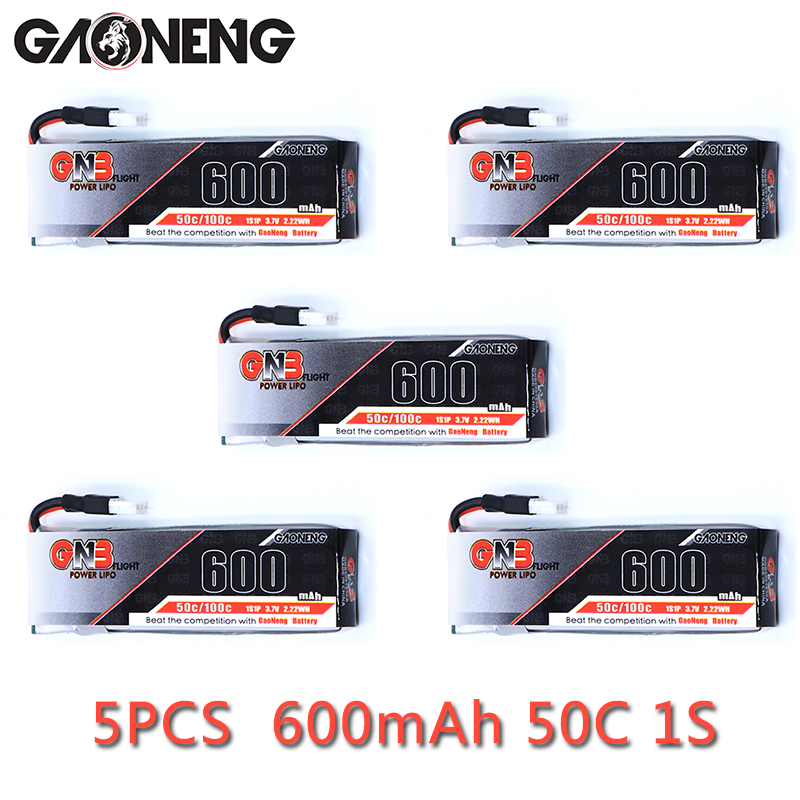 5pcs Gaoneng GNB 1S <font><b>600mah</b></font> <font><b>3.7V</b></font> 50C/100C 51005 Plug Connector <font><b>Lipo</b></font> <font><b>Battery</b></font> For 4- Axis Quadcopter FPV Drone Helicopter Aircraft image