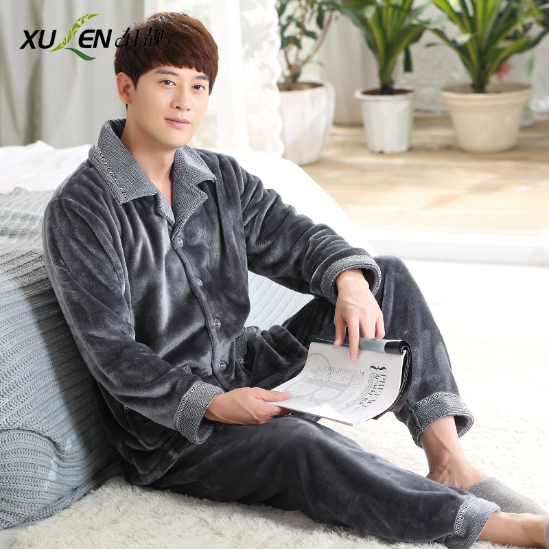 Sleepwear male winter thickening plus velvet coral fleece winter old-age flannel lounge plus size