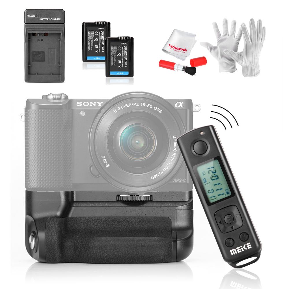 Prix pour 2 Pcs Batteries Meike MK-A6300 pro Batterie Holder Grip Intégré 2.4G Sans Fil Costume De Télécommande pour Sony A6300 avec Chargeur