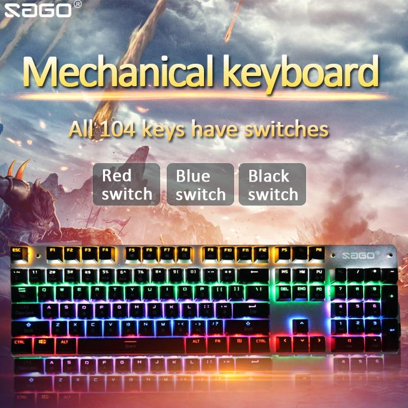 Sago Mechanical Keyboard 104 keys LED backlit Gaming Keyboard Russian/English keyboard usb Wired Blue /red/ black switch genius k7 usb wired blue red led backlit 104 key keyboard