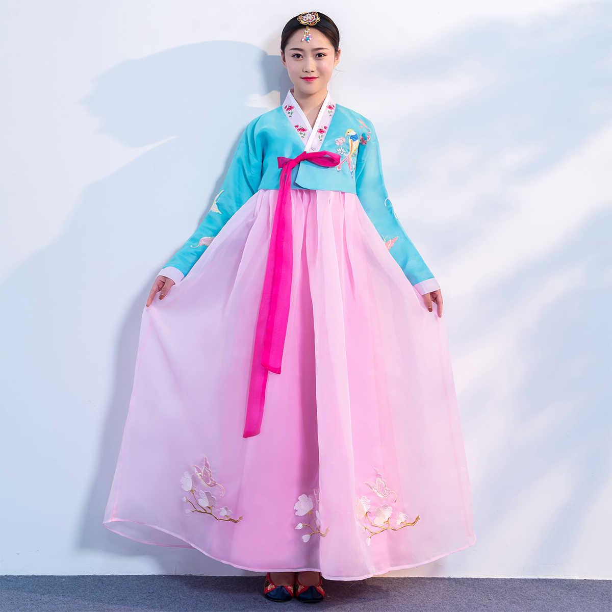 מסורתי אסיה חתונת ארמון Hanbok קוריאני לנשים קוספליי בגדי ביצועי שלב שמלת Hanbok תלבושות ריקוד לאומיים
