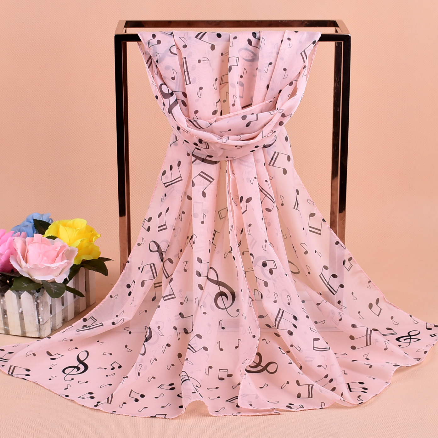 1PC 2019 new   scarf   women Lady beauty Musical Note Chiffon Neck   Scarf   Shawl Muffler shawls and   scarves   foulard femme 50*160cm