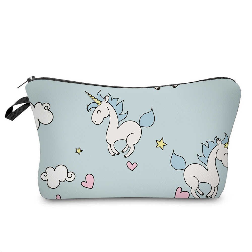 7872f04126eb BBL 3D Printing Cute Unicorn Cosmetic Bag Multicolor Pattern Women Travel  Toiletry Make Up Bag Cosmetics Pouch Makeup Organizer