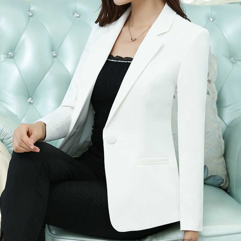 ファッションエレガントな秋スリムワークウエア女性フォーマルフルスリーブスカイブルーブレザーコート女性オフィスプラスサイズのジャケット
