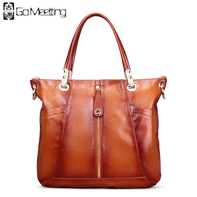 Go Meetting Brand Design Genuine Leather Women Handbags High Quality Totes Shoulder Bags Vintage Cowhide Women Messenger Bag pmsix chinese style brand women handbags genuine leather bag printing cowhide women totes national vintage women messenger bags