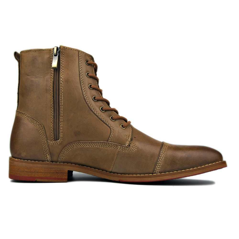 2020 otto design de moda genuíno couro de vaca homens botas de tornozelo rendas até sapatos bonitos homens botas básicas, melhor qualidade, primavera sapatos