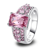 lingmei Gorgeous Jewelry Wholeale Emerald Pink Sapphire 925 Silver Ring Size 7 8 9 10 Fashion Style Women Rings Free Shipping