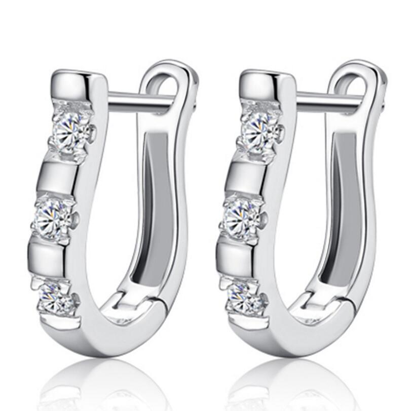 pendientes Luxury Upscale 925 Sterling Silver Earrings Harp Zircon Studs Ho..