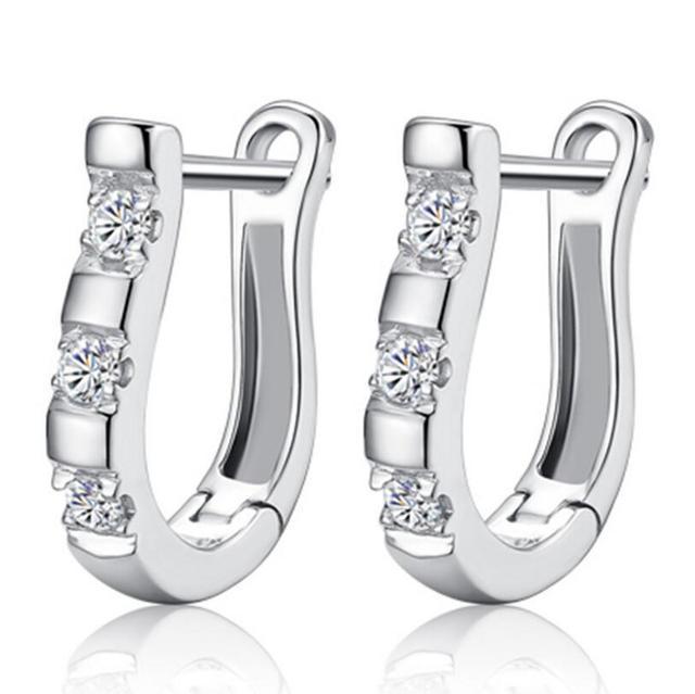 pendientes Luxury Upscale 925 Sterling Silver Earrings Harp Zircon Studs Horse Shoe Earrings Women brincos S-E03