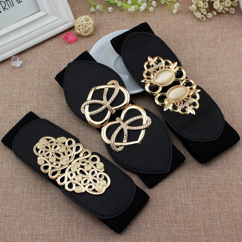 18 tipos Todo negro 5 cm 6 cm 7,5 cm de ancho y 65 cm cinturón largo Cintura Adorno para las mujeres Cintura