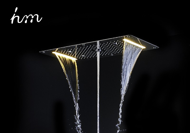 hm 9 Function Led Shower Head, Light Rain Shower 700x380mm Large Waterfall Multi Function Ceiling Mount Overhead, Shower Heads (28)