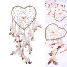 Catcher-Decor Hanging-Decoration Dream Heart-Shape India-Style White 1set
