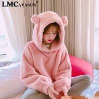 LMCAVASUN Pink Hoodies Women Fashion Pullover Casual Loose Warm Soft Furry Outwear For Kawaii Girls Autumn Winter