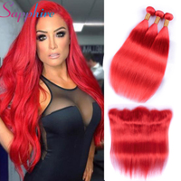 Sapphire Red Lace Frontal With Bundles Brazilian Straight Hair 3 Bundles with 13*4 Free Part Lace Frontal Human Hair Weave