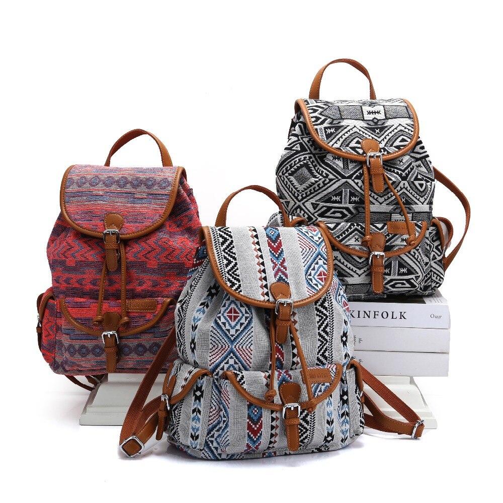 BOHO sac à dos gitane femmes bohème mochila de mujer sac à dos de voyage ethnique Hippie momie sac à couches filles sac d'école-in Sacs à dos from Baggages et sacs    1
