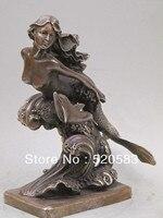 Бесплатная 11 Запад Бронзовый скульптурный красавицы Русалочки и Дельфина статуя быстро