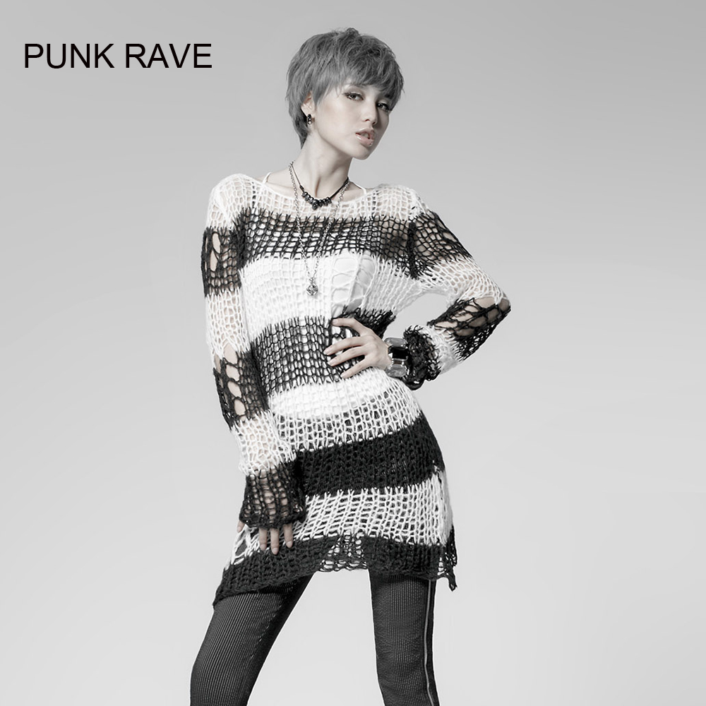 Punk Gothic font b SWEATER b font Visual Kei fashion Kera white stripes Shirt Top TOP