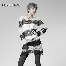 Punk Gothic SWEATER Visual Kei fashion Kera white stripes Shirt Top TOP Black Steampunk pullover