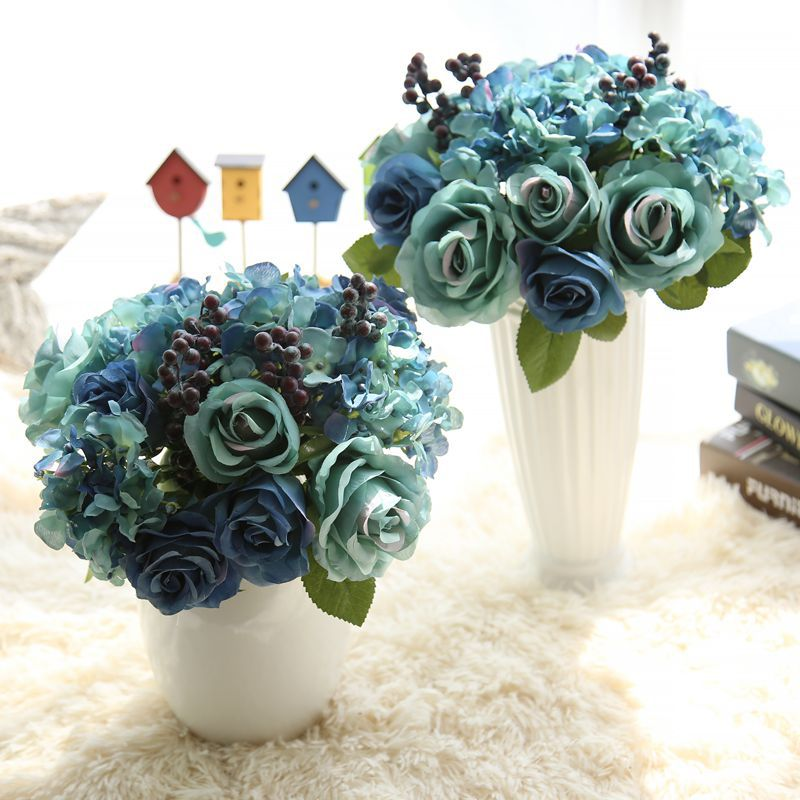 Artificial flower Silk Rose Bridal Wedding Bouquets Blue Flowers Bride Bridesmaid For Decoration