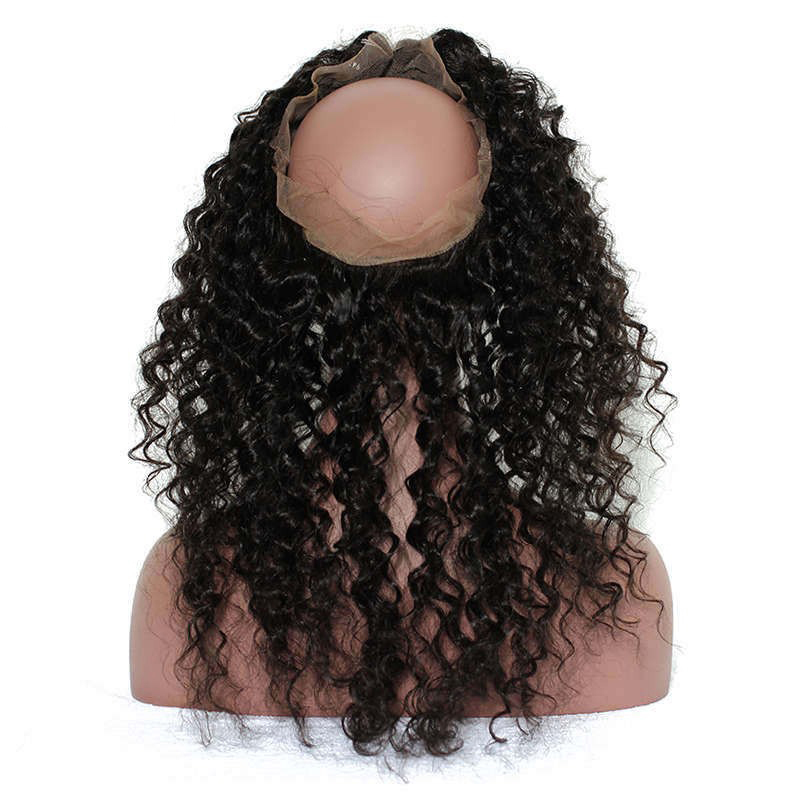 360 Lace Frontal Closure Pra Plucked With Baby Hair Deep Wave Frontal - Rambut manusia (untuk hitam) - Foto 4