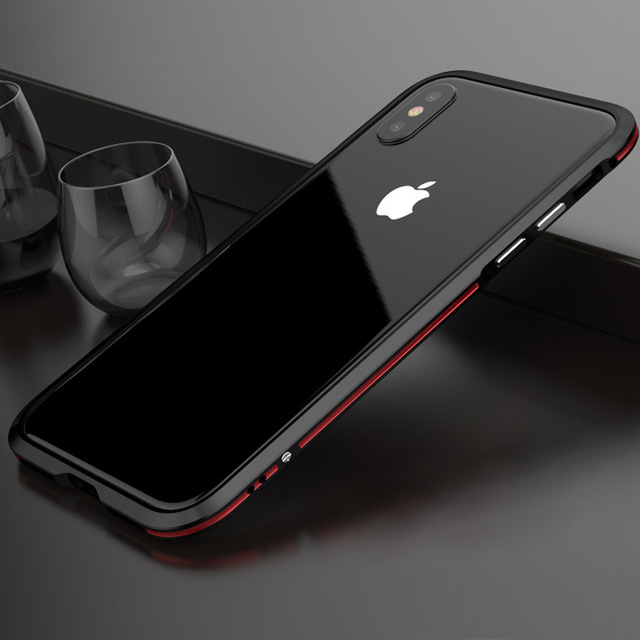 size 40 eab44 2a19b Metal bumper phone case for iphone X XR XS Max aviation aluminum frame case  for iphone 7 8 plus 6 6s plus Transparent Cover case