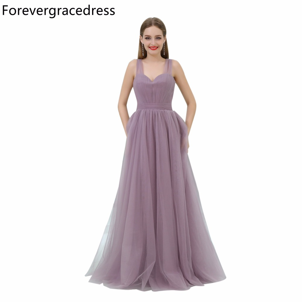 Forevergracedress Cheap Simple Bridesmaid Dress New Arrival Sleeveless Tulle Long Wedding Party Gown Plus Size Custom Made