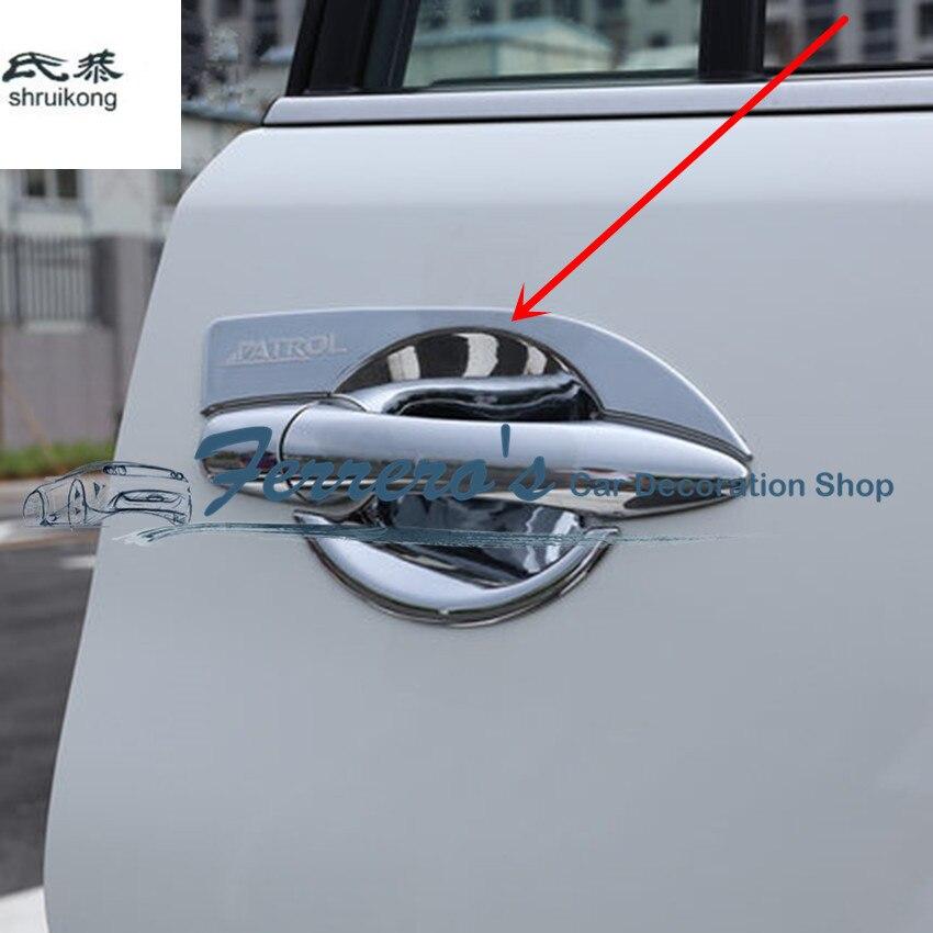 Livraison gratuite 4 pcs/lot autocollant De Voiture ABS Chrome Voiture porte bol Pour Nissan Armada Patrouille Royale Nismo Y62 2016- 2018